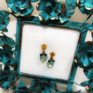 24k Gold Flower & Gems earrings